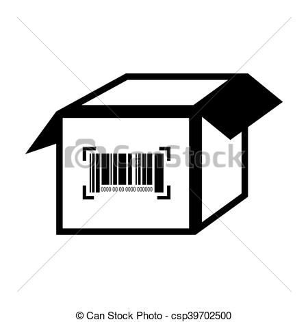 Vector Clipart of box barcode with serial number data information.
