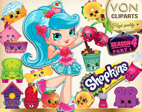SALE! 42 Shopkins Season 4 Clipart PNG Shopkins Digital Graphic.