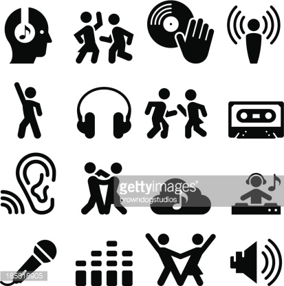 Dance Party Icons Black Series Vector Art.