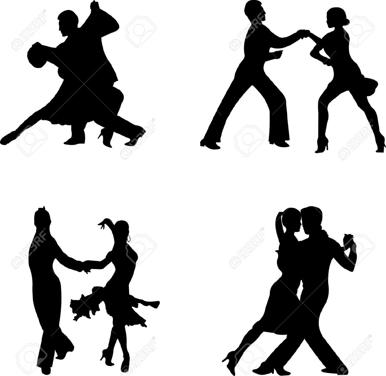 Set Of Silhouettes Of A Dancing Couple, One In The Series Of.