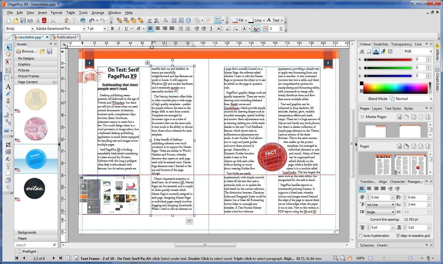 Serif page plus clipart.