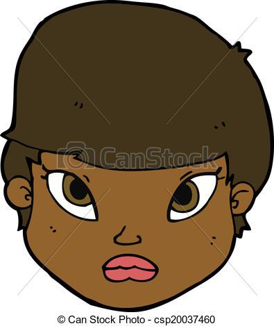 Clip Art Vector of cartoon serious face csp20037460.
