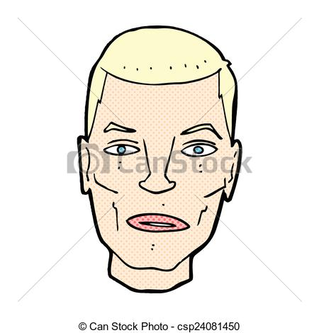 Clipart Vector of comic cartoon serious male face.