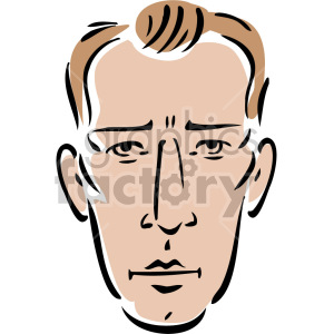 serious look on man\'s face clipart. Royalty.