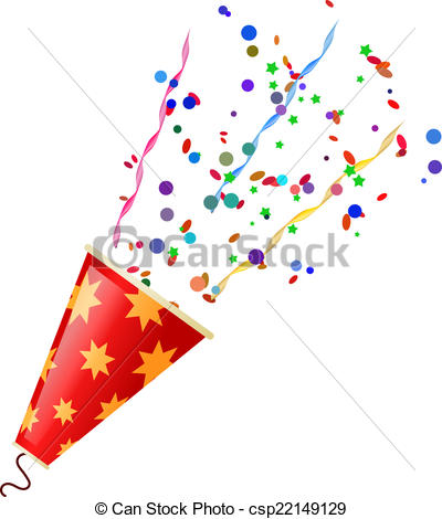 Clipart Vector of Exploding poppers with serpentine and confetti.