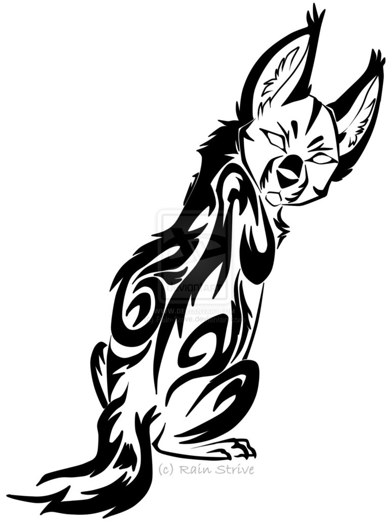Glancing Serval Tribal Design.