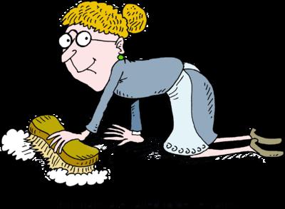 Image: Woman Scrubbing Floor.