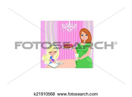 Clip Art of Mom serves pancakes k21910568.
