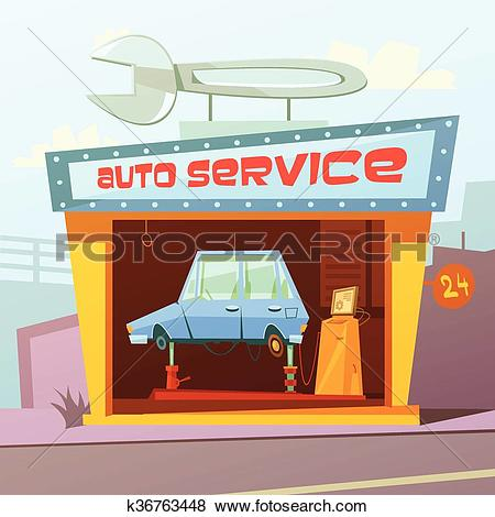 Clip Art of Auto Service Building Background k36763448.