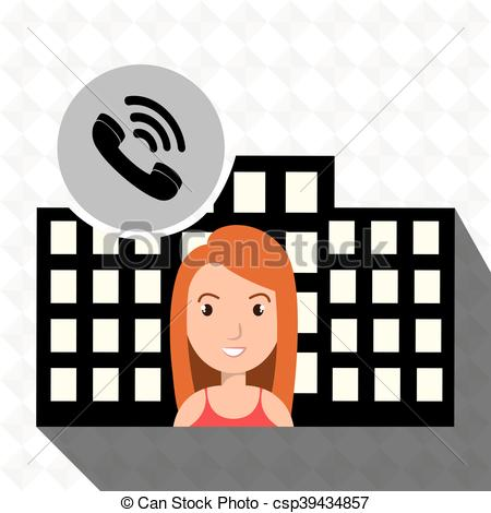 Clipart Vector of woman hotel service building vector illustration.