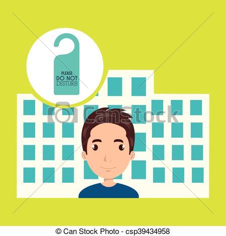 Clipart Vector of man hotel service building vector illustration.