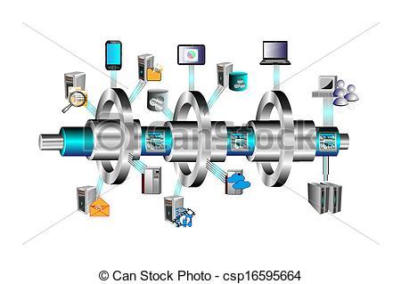 Clip Art Vector of ESB of EBS Integration.