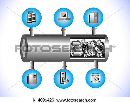 Clip Art of Middleware Enterprise Service Bus k14095426.
