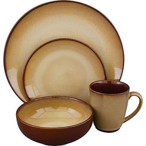 Stoneware Dish Set Brown Dinnerware Service Quality Kitchen Plates.