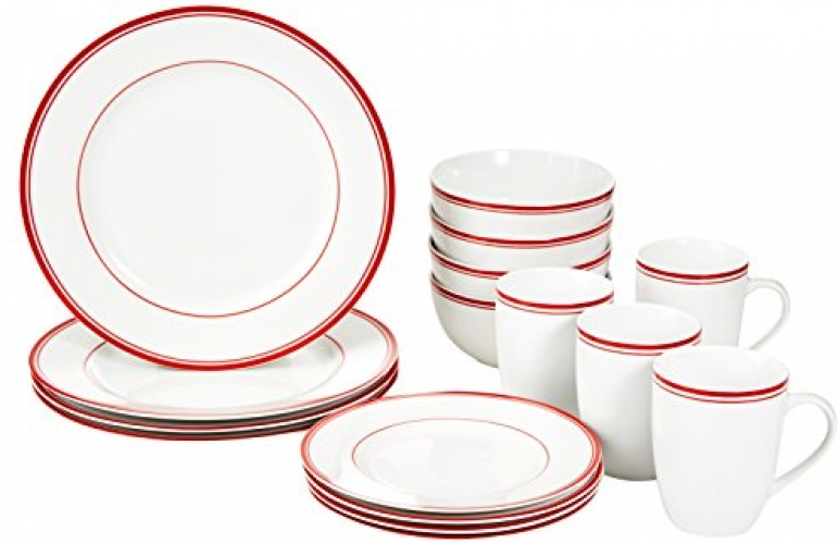 16 Piece Dinnerware Set White Red Service For 4 Plates Dishes.
