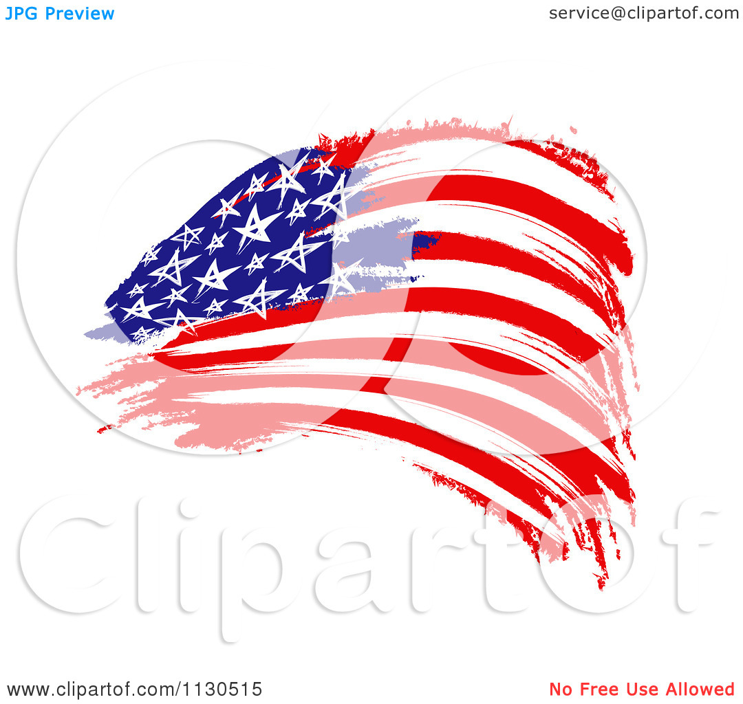 Clipart Of A Painted American Flag.