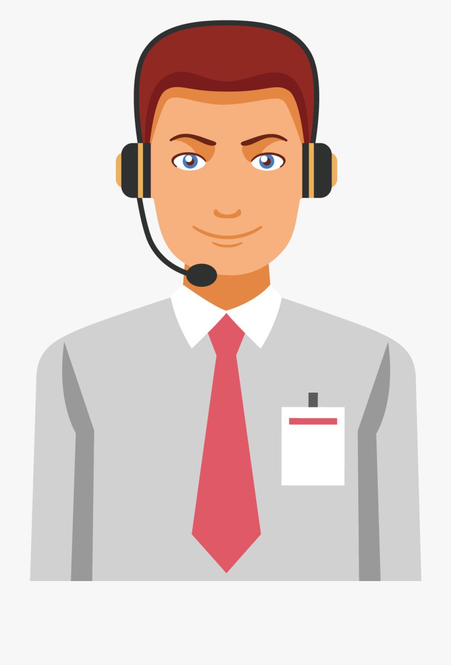 Customer Service Cartoon Man.