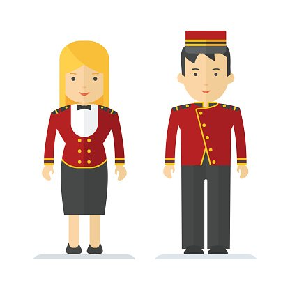 profession hotel service man and woman Clipart Image.