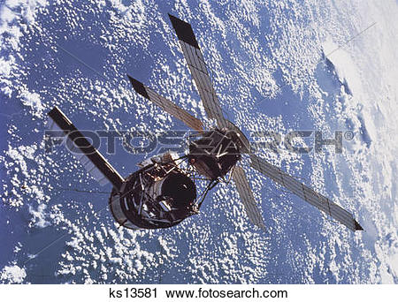 Stock Photography of Skylab space station cluster in Earth orbit.