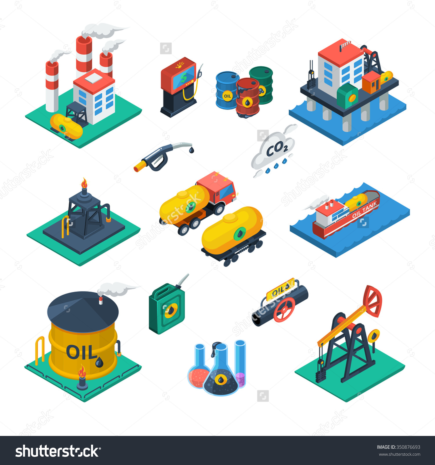 Oil Production Distribution Industry Constructions Isometric Stock.
