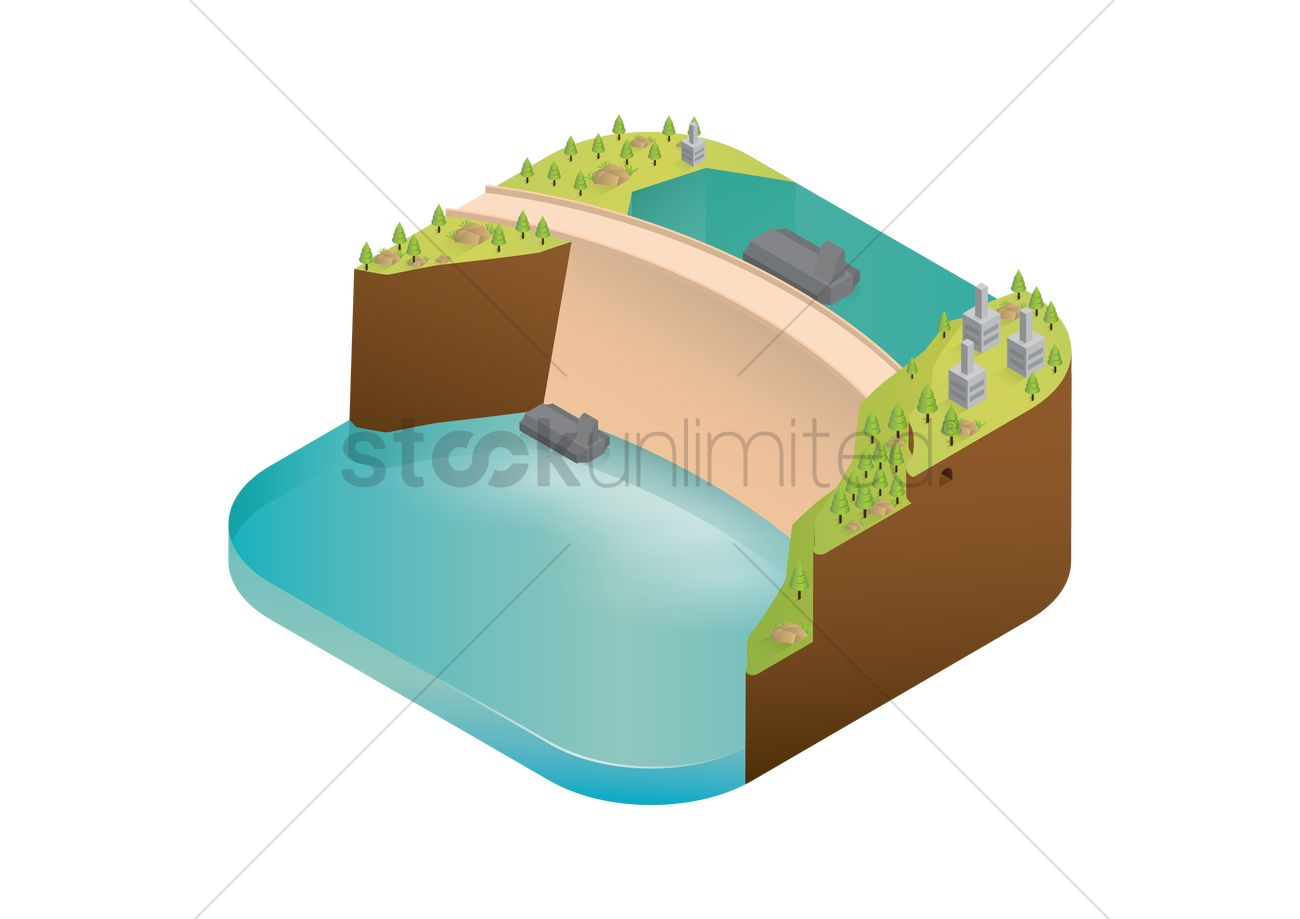 Water dam reservoir Vector Image.