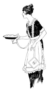 vintage food clipart, woman serving pie, free black and white clip.