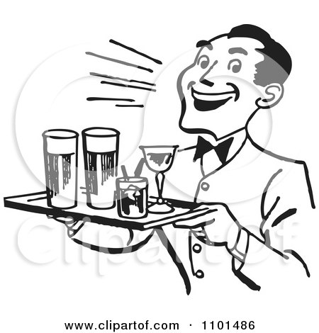 Clipart Retro Black And White Happy Waiter Serving Cocktails.