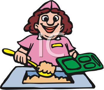 Royalty Free Clipart Image of a Lunch Lady Serving Food.