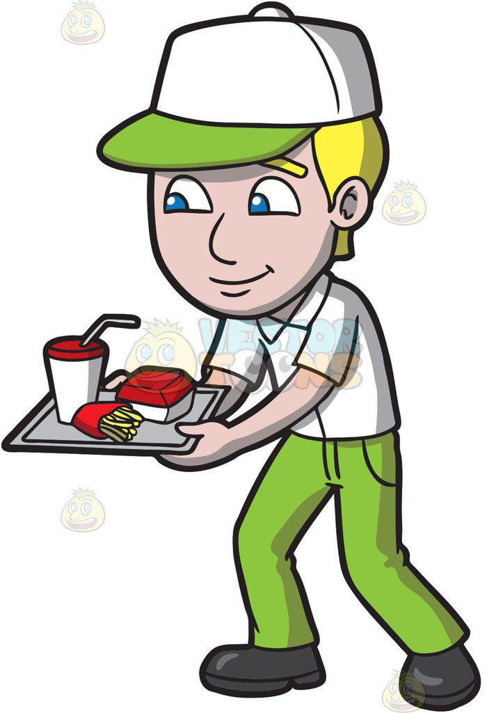 A Fast Food Employee Serving Orders Vector Clip Art Cartoon.