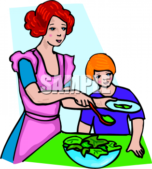 Clipart Picture of a Mother Serving Her Son Salad.