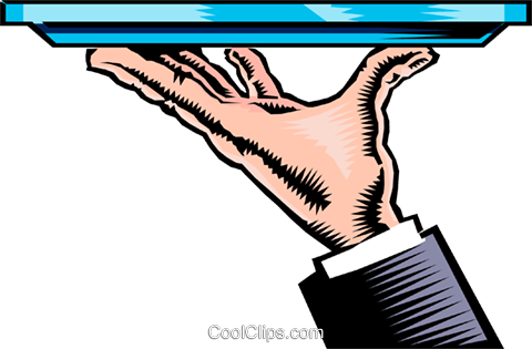 Hand with serving tray Royalty Free Vector Clip Art.