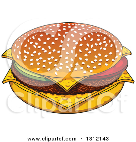 Clipart of a Cartoon Cheeseburger with a Sesame Seed Bun.