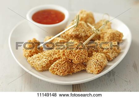 Pictures of Chicken with a sesame crust and chilli sauce 11149148.