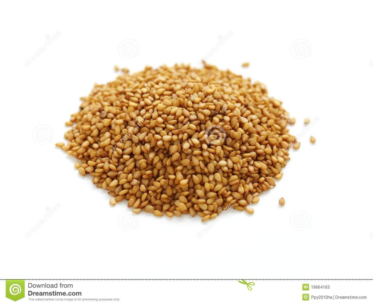 Golden Sesame Seeds Stock Photos.