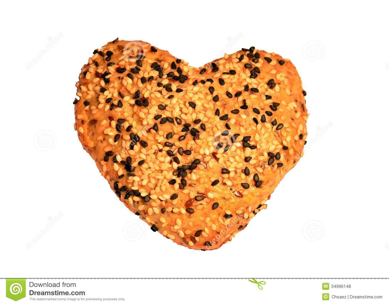 Heart Shaped Bread With Black And White Sesame Seeds, Isolated.