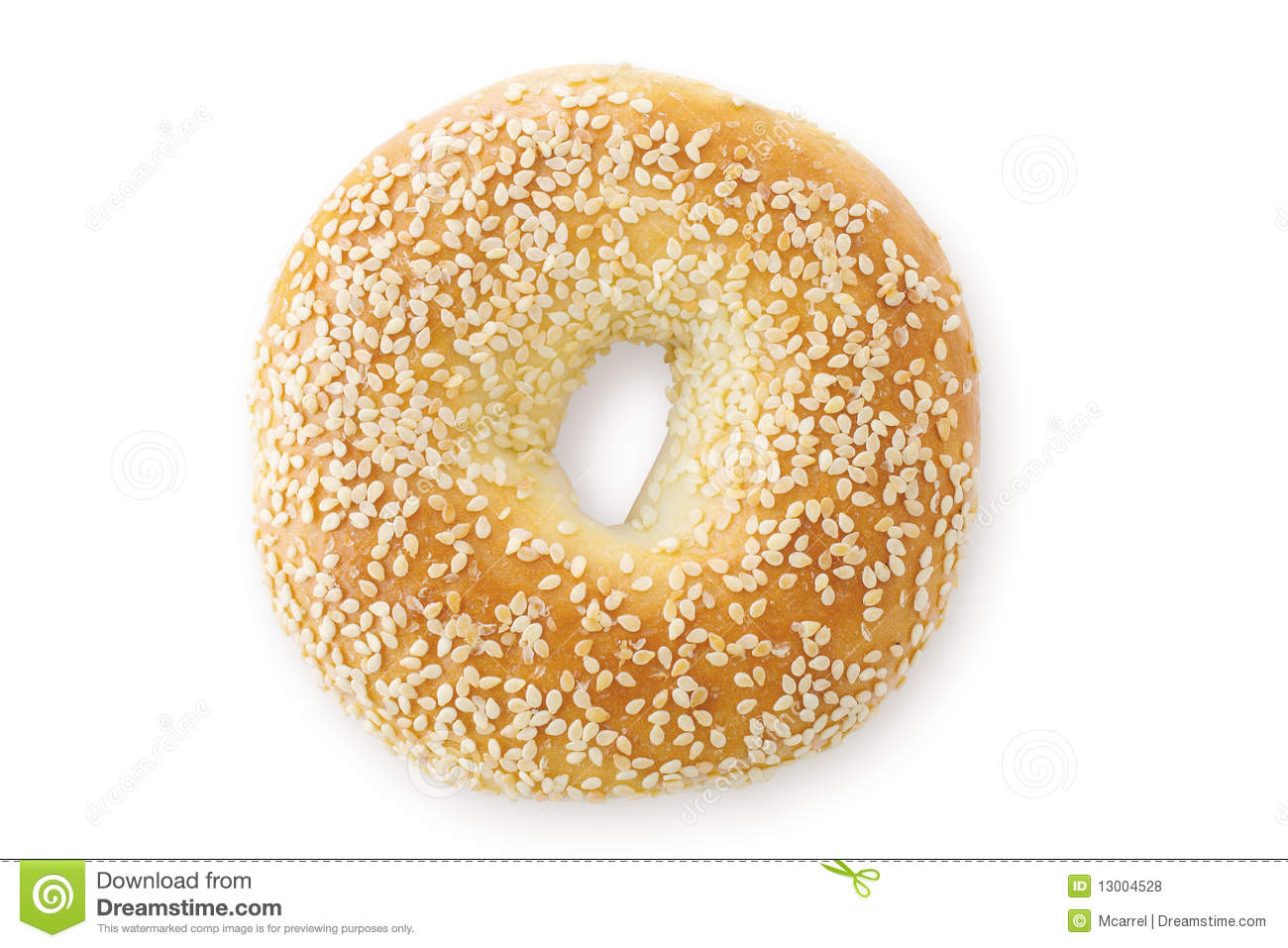 Sesame Bagel Isolated Stock Image.