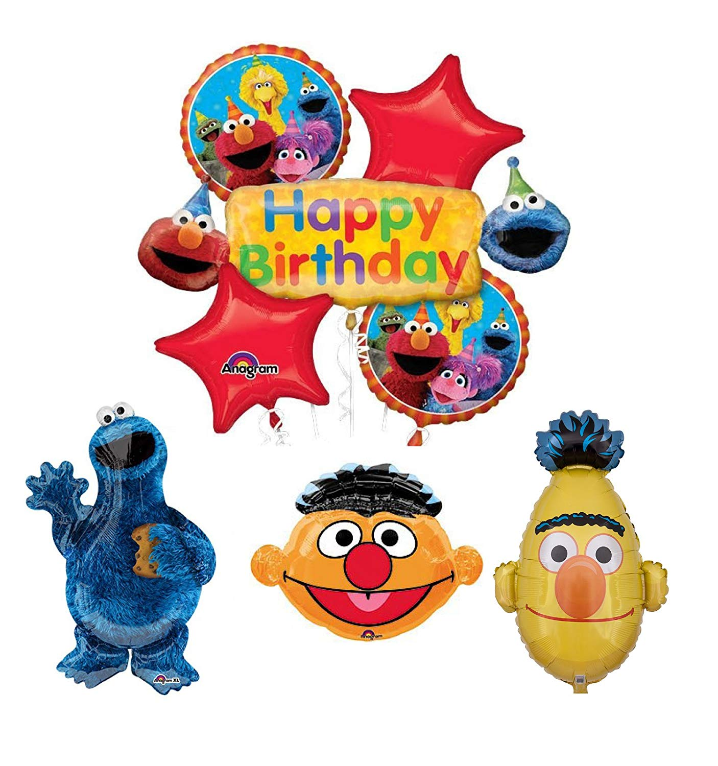 Mayflower Products Sesame Street Cookie Monster Bert and Ernie Birthday  Party Supplies and Balloon Bouquet Decorations.