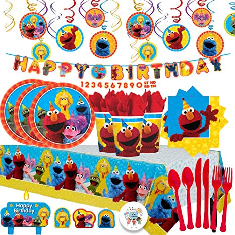 Another Dream Sesame Street Mega Birthday Party Pack with Decorations for  16 with Plates, Napkins, Cups, Tablecover, Candles, Cutlery, Swirls,.