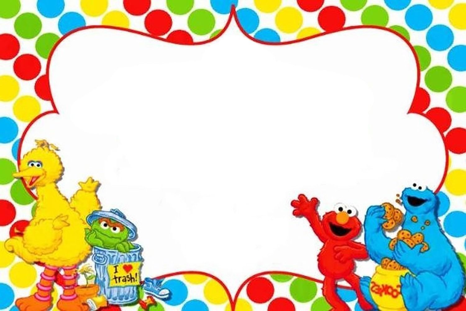 Sesame Street Party Invitation Template.