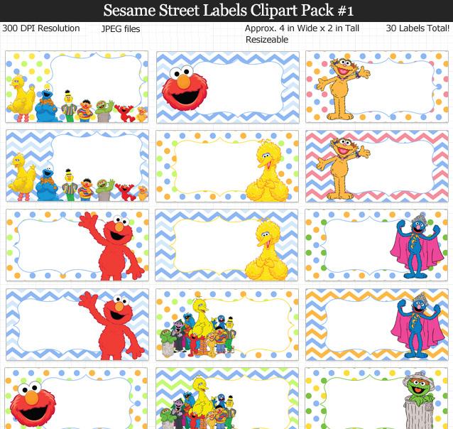 Sesame Street Labels Clipart Pack.