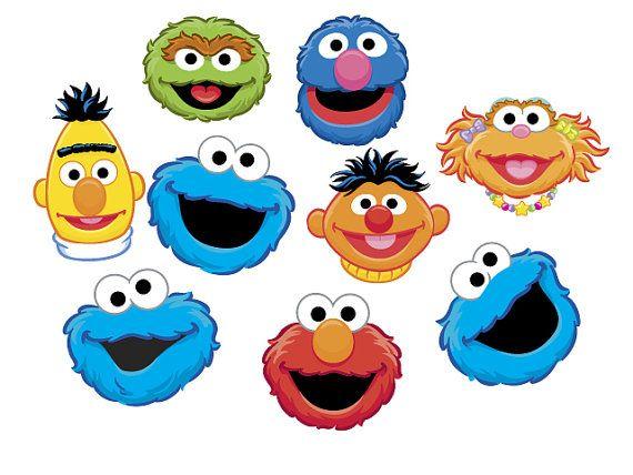 Instant Download Sesame Street Heads Clip Art Set By.