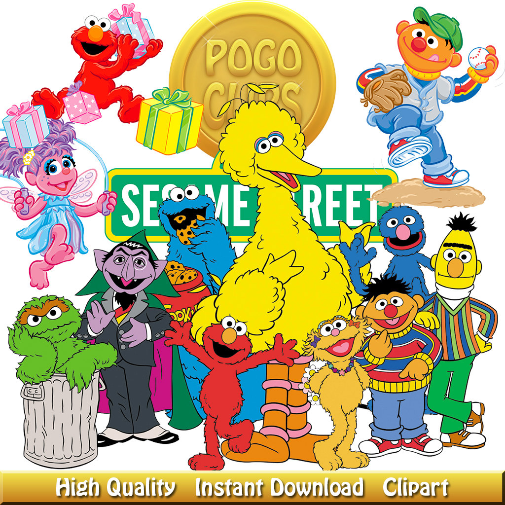 9 High quality Sesame Street Characters clipart.