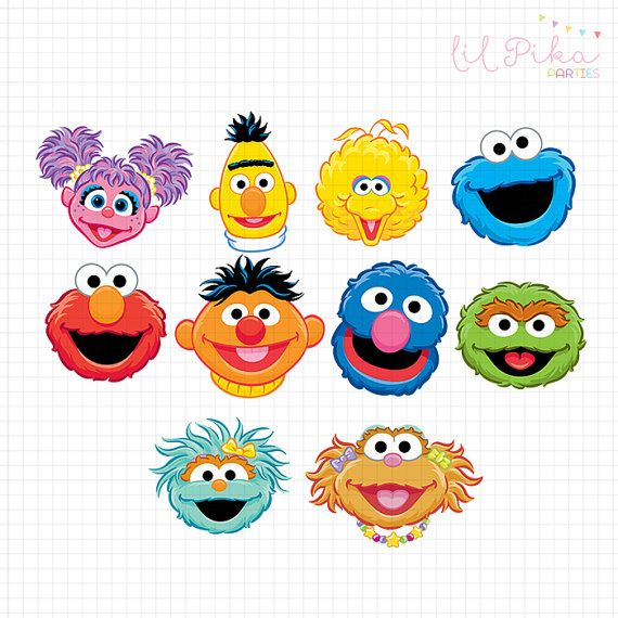 Sesame Street Characters Head Clipart.