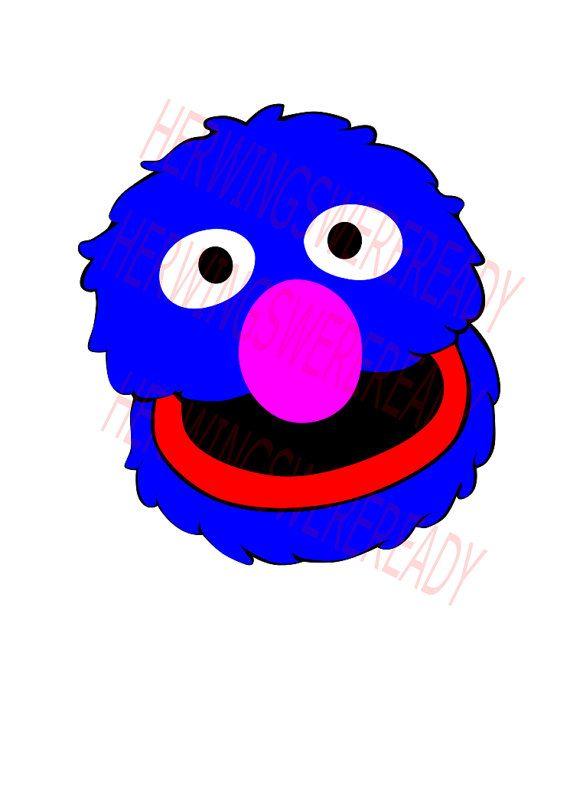 SVG, Digital Vector Graphic, Sesame Street Grover Head SVG.