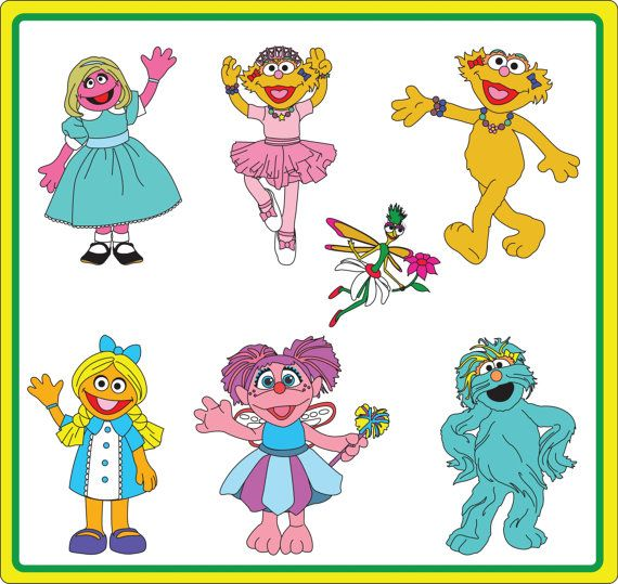 Instant Download: Sesame Street Girls Clip Art.