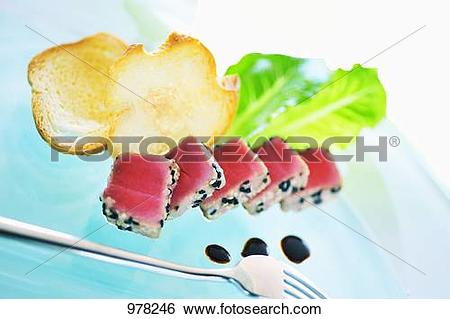 Stock Images of Seared tuna with sesame seeds and balsamic vinegar.