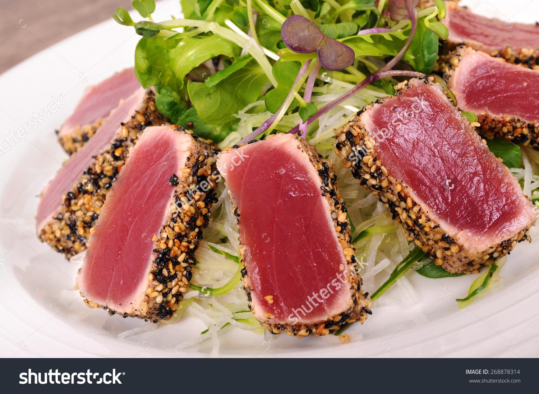 Seared Tuna Coated Sesame Seeds Green Stock Photo 268878314.