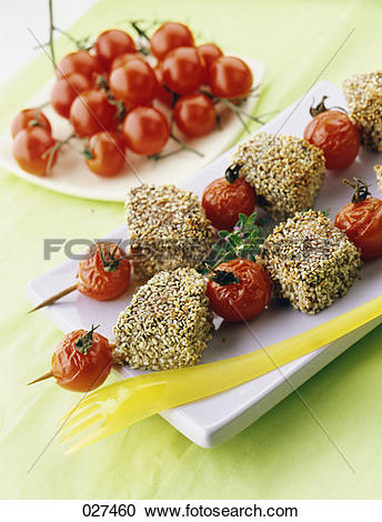 Stock Photography of Tuna brochettes with sesame 027460.