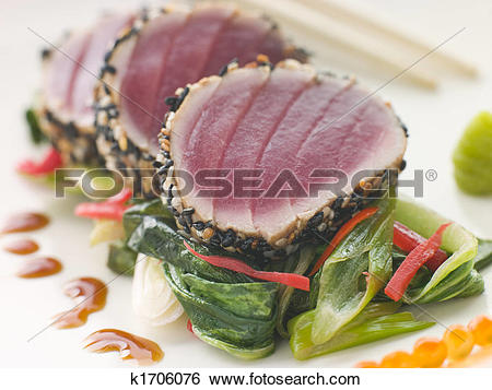 Stock Images of Seared Yellow Fin Tuna with Sesame Seeds Sweet.
