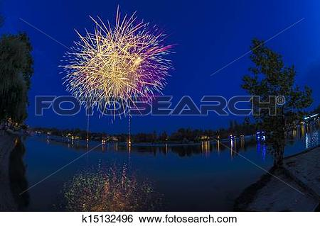 Stock Images of Fireworks on the river Ticino, Sesto Calende.
